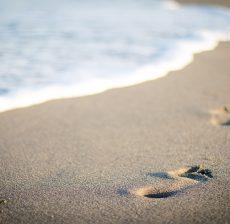 sea, beach, footprints